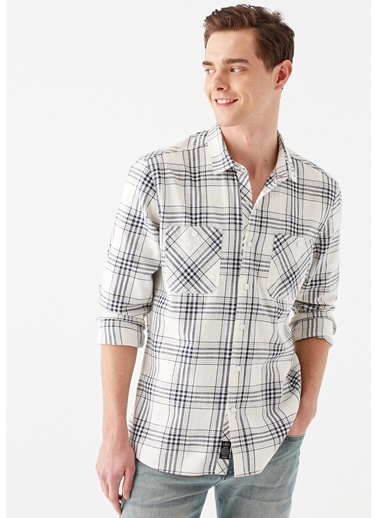 Mavi Kareli Gömlek Beyaz